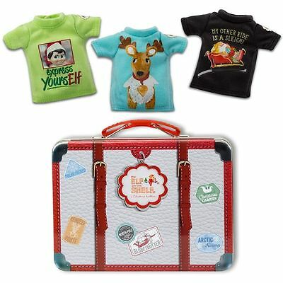 Elf On The Shelf ~ 3 ELF SIZED T-SHIRTS & SUITCASE Lot ~ Clause Couture Clothes