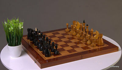 1966  big board VINTAGE SOVIET RUSSIAN CHESS SET USSR WOOD wooden Chessboard