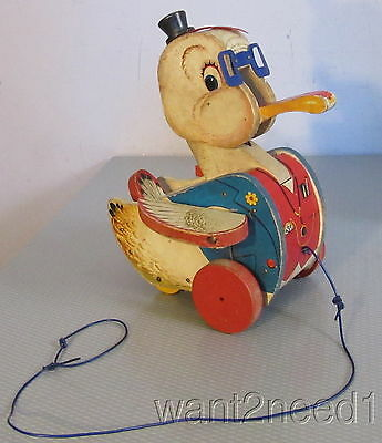 50s old vtg Fisher Price DR DOODLE #132 wood duck pull toy