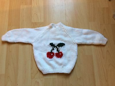 """Fab NEW Hand Knitted White Baby Jumper Cute Cherries Design  18"""" 0-6 m Gift"""