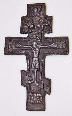 Antique Russian Orthodox Three-bar Cross Bronze Travelling Crucifix Icon 9cm