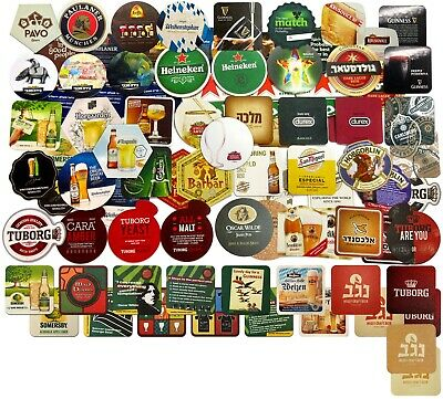 collection of beer coasters World brands for bar and home from cardboard, new