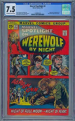 MARVEL SPOTLIGHT #2 - CGC 7.5 OW-WP VF- First WEREWOLF BY NIGHT Jack Russell