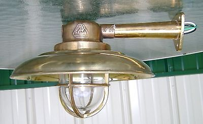 Beautiful Brass Nautical Wall Light With Arm And Cover - Big Ship Salvage