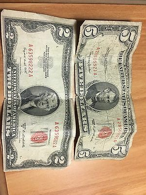 old money 5$ bill & 2$ bill good condition