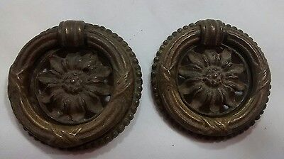 Pair Brass Sunflower Drawer Pulls Antique Architectural Salvage Hardware