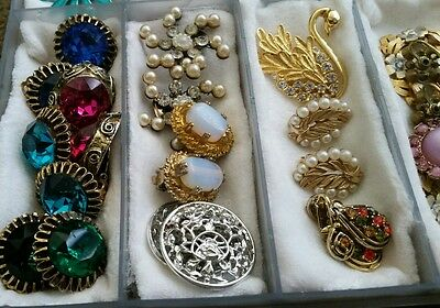 Vintage Estate Jewelry Lot Mixed Earrings Signed Dodds Trifari Sarah C All Wear