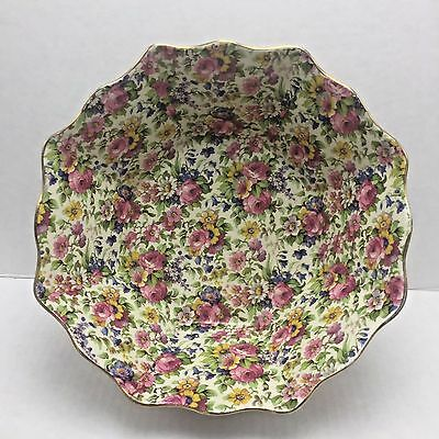 Chintz Royal Winton England Summertime Large Octagonal Deep Bowl Gold Rim