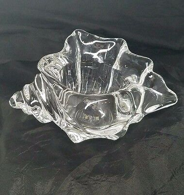 Vintage AVON Heavy Crystal Glass Conch Seashell Votive Candle Holder Collectible
