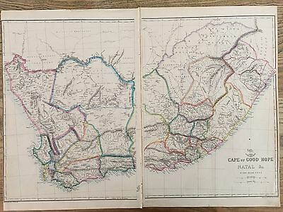1863 South Africa Map By Weekly Dispatch Hand Coloured Original Antique