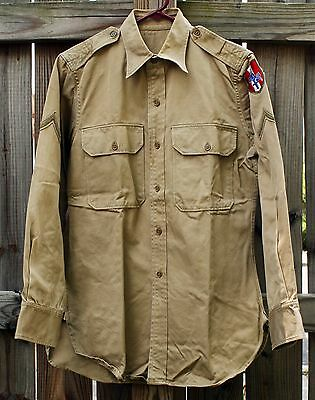 Vintage US Military Army Khaki Shirt And Patch WWII