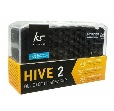 KitSound Hive 2 Bluetooth Wireless Stereo Speaker for Smartphones - Black *NEW*