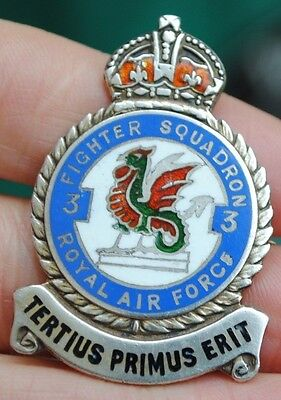 RAF solid silver squadron badge 3 fighter squadron