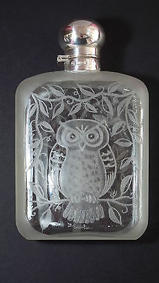 Unique Glass Hip Flask With Hallmarked Silver Top