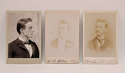 antique cabinet card photo lot * 3 of same handsome dapper pretty boy gentleman