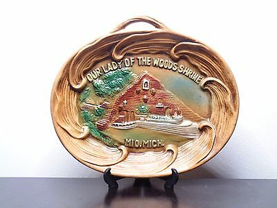 Vintage Our Lady Of The Woods Shrine Mio Michigan Ceramic Hanging Plate Dish
