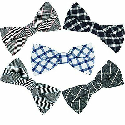 Mens 5 pc Set Bow Ties Mixed Color Pattern Pre-Tied Adjustable Neck Tie Clip-On