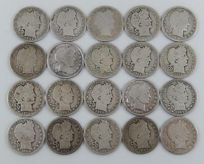 1892 - 1916 P D O & S Barber Silver Quarter 25C 20 Coin Lot All Different C0270