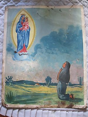 Mid 1900's Retablo Woman Kneeling In Prayer To Our Lady  Of Imaculate Conception