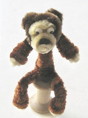"""Vintage Chenille Pipe Cleaner 3"""" Chimpanzee Google Eyes & C Clasp Pin"""