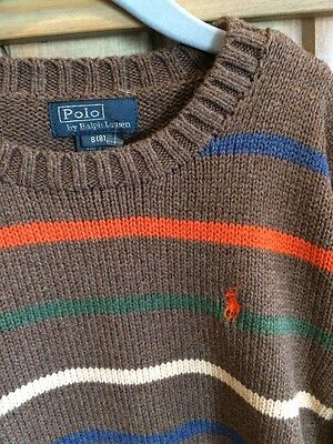 NEW! POLO BY RALPH LAUREN BOYS SWEATER - Size 8 Brown W/COLOR Stripes