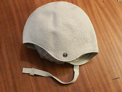 vintage White Rubber Bathing Swim Cap Spectra Flowers Chin Strap New Old Stock