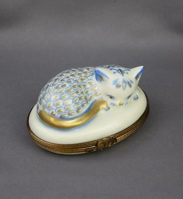 Hand Painted Limoges Cat Fishnet Blue Gilt Hinged Trinket Box Hinged Mouse Clasp