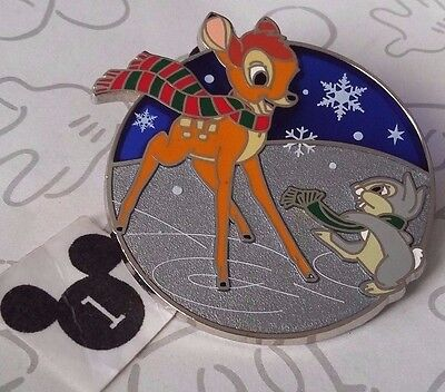 Bambi and Thumper Ice Skating Holiday 2016 Stained Glass Christmas Disney Pin