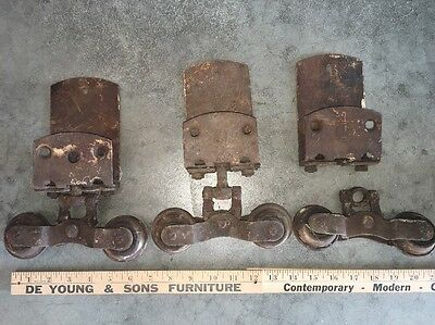 3 Vintage Barn Door Trolley / Sliders / Rollers / Antique / Decor