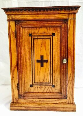 ANTIQUE C. LATE 19th century FRENCH OAK INLAID ~ CARVED MEDICAL CROSS CABINET