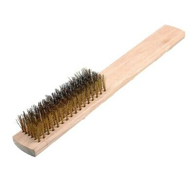 """8"""" Length 6 Rows Brass Bristle Wood Handle Wire Scratch Brush S5L2 E0F2"""