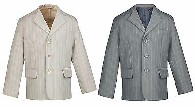 Baby  Boy Teen Formal Party Tuxedo Suit Pinstripe Taupe or Gray Jacket Sm-20