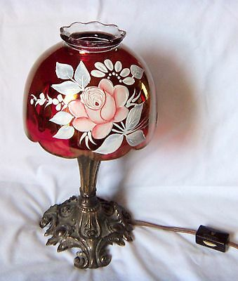 Vintage Westmoreland Ruby Rose Electric Fairy Lamp/ Signed by Artist