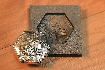 Hex Shape Dragon coin Graphite mold for Silver - Gold - Glass Ingot casting