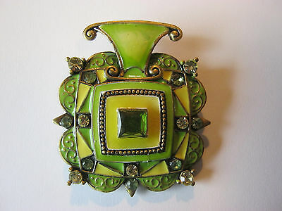 Vintage lime green enamel pendant, goldtone, rhinestones, green center stone