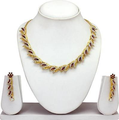 Indian Bollywood Fashion Two Tone Plated Wedding Necklace Earrings Jewelry Set