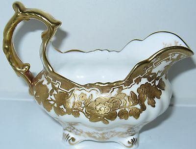 Hammersley Grand Baroque Gold Encrusted Floral Creamer 6 oz