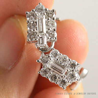 Vintage 1.10Ctw Diamond Baguette Round 18K White Gold French Clip Back Earrings
