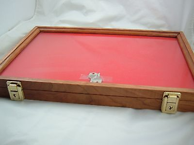 wooden table top showcase cherry wood display case secure display foam lining