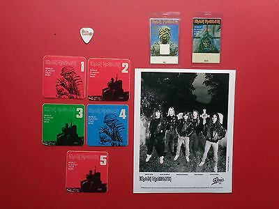IRON MAIDEN,Promo Photo,7 RARE Backstage passes,Tour Originals,Free Guitar Pick