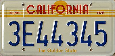 "USA Number Licence Plate CALIFORNIA ""THE GOLDEN STATE""   80's"