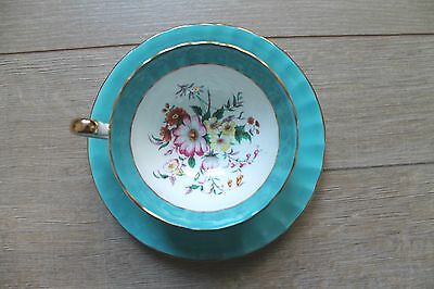 Aynsley 1930s bone china blue and gold summer wildflowers tea cup and saucer