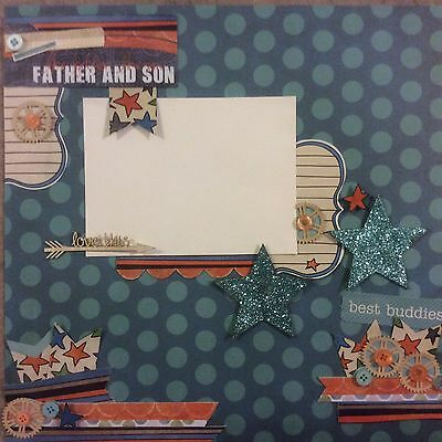 handmade scrapbook page 12 X 12 Father And Son Themed Layout