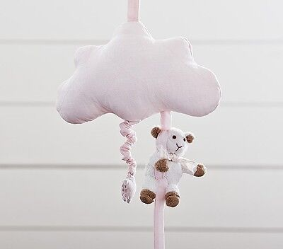 Pottery Barn Cloud Musical Pull Toy Crib Sheep Bow Mobile Pink Brand New