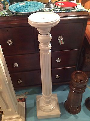 Pedestal timber white painted plant or display stand104cm Solid timber GREENWICH