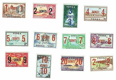 1968 Tonga - Various Stamps Surcharged - Set of 12