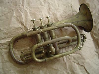 Antique Late 1800s/ Early 1900s Cornet - Bare Brass Generic Import