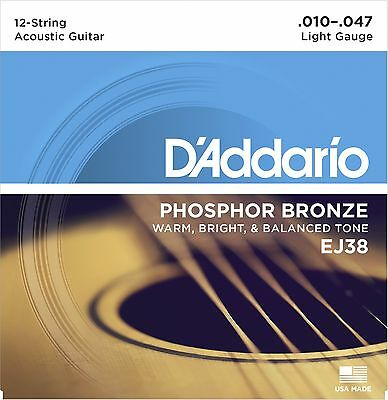 D'Addario EJ38 Phosphor Bronze 12-String acoustic guitar strings, Light