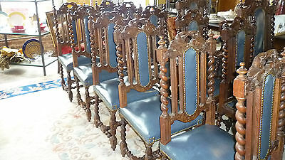 Set of 6 Heavily Carved Barley Twist Dining CHairs with Blue Leather
