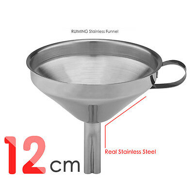 12cm Stainless Steel Kitchen Funnel Metal With Detachable Strainer Tools